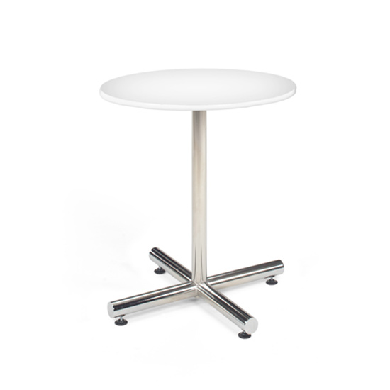 30″ Round Cafe Table - White with Chrome Base