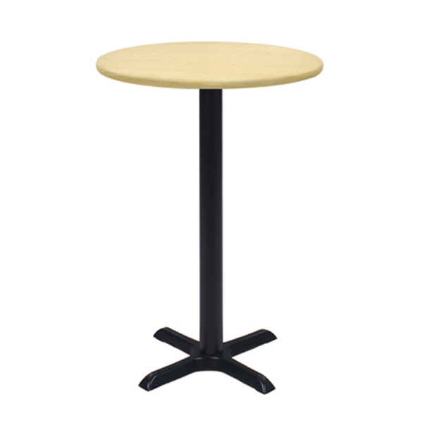 30″ Round Bar Table With Black Base - Maple